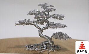 Informal Wire Bonsai Tree Sculpture Handcraft /original Artwork - silver