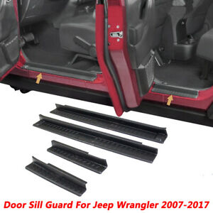 ABS Step Protector Door Sill Entry Guard Cover For Jeep Wrangler JK 2007-2017 CI