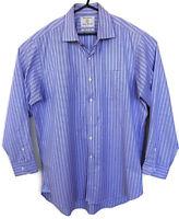 "Brook Taverner Mens Purple/ Pink Blue 17"" Collar 100% Cotton Shirt Long Sleeves"