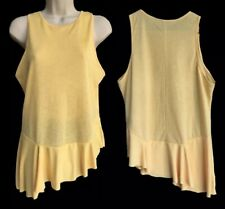 Zara Top Size 10 12 Yellow Floaty Peplum Frilly Asymmetric Summery Cute Lemon