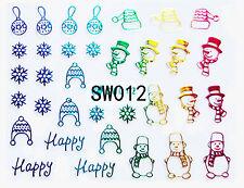 Christmas Holo Rainbow Snowman Snowflakes Baubles Santa Hats 3D Nail Art Sticker