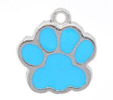 10PCs Silver Tone Blue Enamel Dog's Paw Charm Pendants 18x17mm Fashion