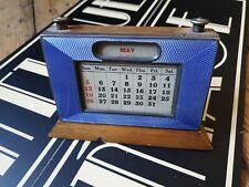 Antique English Art Deco sterling Silver blue Guilloche Enamel desk calendar