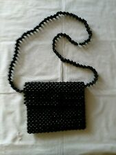 Vintage Giannini Blue Wood Bead Lined Zippered Shoulder Bag Single Strap 3c3a5f3cc6130