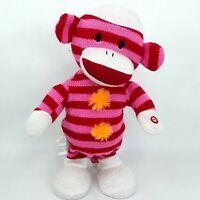 Gemmy Sock Monkey plush soft toy doll Pink Singing Sings dances to Rhianna music