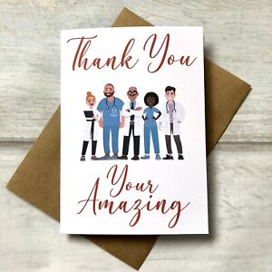 Thank You Greeting Card Friends Nurses Doctors NHS (blank Inside) Your Amazing