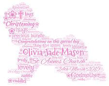 Personalised Christening  Birthday New Baby Word Art Print Gift keepsake