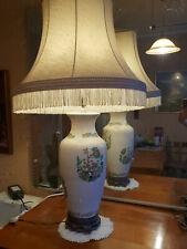 Grande Lampe en céramique avec abat-jour style chinois vintage