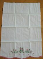 Vintage Embroidered White Pillow Case Pink Roses, Buds and Crochet Scallop Edge
