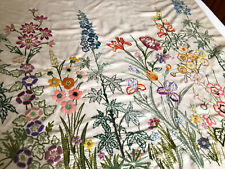 Vintage Very Large Hand Embroidered Natural Linen Panel COTTAGE GARDEN FLOWERS