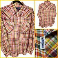 VTG Levi's White Tab BIG E Pearl Snap Button Up Western Shirt Plaid XL Men's