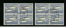 Greenland #141 X (2) (Gr683) Blocks of 4, Hi Value Salmo Salar, U,Fvf, Cv$80.00