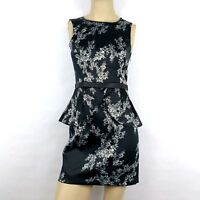 ERIC + LANI Black Floral Peplum Cocktail Fit and Flare Party Holiday Dress Small