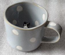 Cat inside mug blue polka dot Anthropologie tuxedo cat