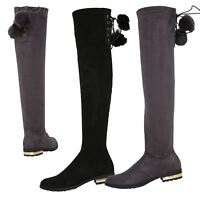 Womens Over Knee High Boots Ladies Low Heel Riding Stretch Winter Shoes