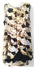 Macys Style & Co XL Cami Tank Black & Gold Brown White Sheer Overlay Flattering