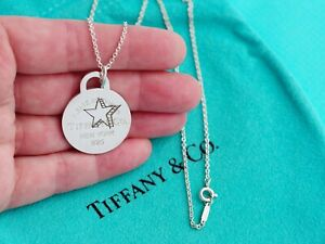 Tiffany & Co Return To Tiffany Sterling Silver Round Circle Star Chain Necklace