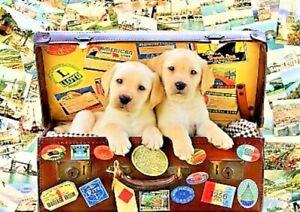 Two Travel Puppies by Greg Cuddiford Bluebird 1000 Piece Jigsaw Puzzle