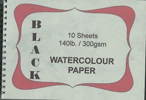 """A pad of 10 sheets of """" Alison Board BLACK WATERCOLOUR PAPER """" 300gsm. N O T ."""