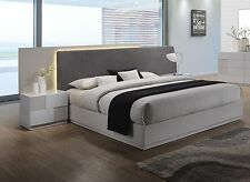 Modern Design Platform Bedroom Furniture Queen Size Grey Upholster Fabric Bed