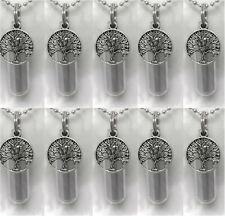 ENGRAVED Family Set of TEN Tree-Of-Life CREMATION URN NECKLACES w/Velvet Pouches