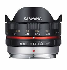 Samyang 7.5mm OJO DE PEZ f3.5 OBJETIVO MANUAL para Micro 4/3 - Negro Olympus /