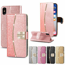 Diamond Glitter Bling Book Flip Phone Wallet Leather Case For Huawei P20 P10