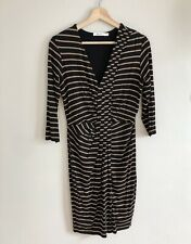 Anthropologie Bailey 44 Stripe Dress Black Tan 3/4 Sleeve Sheath Dress Size M