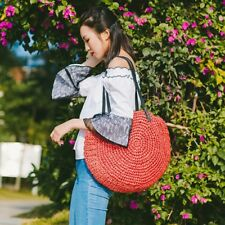 Larger Women's Straw Bag Handwoven Round Rattan Handbags Beach Crossbody bag