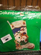 Columbia Minerva Felt Stocking Kit 7729 Santa Sleigh Rudolph Beaded Sequins 1985