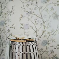 Ivory cream faux grasscloth textured blue flowers floral tree wallpaper rolls 3D