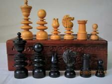 ANTIQUE  CHESS SET ENGLISH ST PATTERN  K 80mm  JAQUES ?  AND BOX NO BOARD