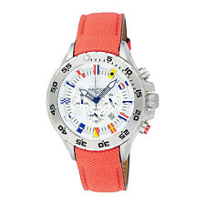 Nautica Mens Maritime Signal Flags Men's Chronograph Red Leather Sport Watch New