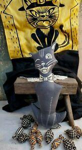 PRIMITIVE VINTAGE FOLK LUHR BEISTLE HALLOWEEN 3D FABRIC WINKING CAT PILLOW DOLL