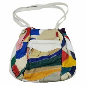 Vintage 80's Colorful Patchwork Shoulder Bag- White- Inside Divider with Pockets