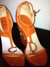 Jones bootmakes Kimono orange//rouille en daim talon compensé Sandales Taille UK 5 EUR 38 RRP £ 110