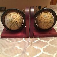 VTG MCM mid century wood world globe bookends Italy Zona book ends