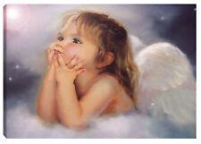 Quadro ANGELO 100x60 madonna paradiso eden gesù cristo stelle ali nuvola cielo