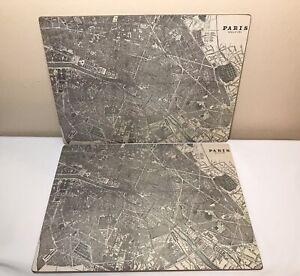 Pair Vintage 19th Century Paris France Map Laminated Cork-backed Placemats