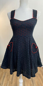 Living Dead Souls Black Red Lining Short Fit & Flare Dress Size XL Hearts Goth