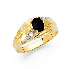 14k Yellow Gold Mens Onyx Free Round Band Ring Resizable - Size 8*