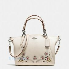 New Coach F59348 Small Kelsey Satchel Leather Studded Border Embellishment Chalk