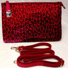 Handbag Purse Womens Clutch Zip Up Wristlet Strap Red Black Animal Print Leather