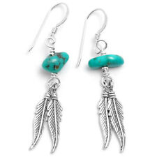 Silver Feather And Natural Turquoise Earrings Genuine Native American Craft-work