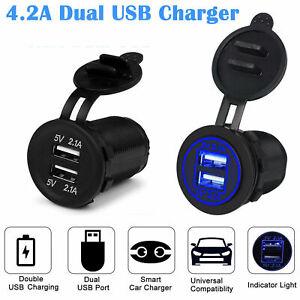 Dual USB Port 12V-24V Car Cigareette Lighter Socket Charger Power Outlet LED NEW