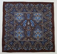 Brown & blue, paisley ornate Silk pocket square handkerchief 42cm. Hand rolled.