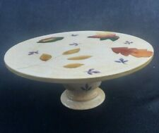 Thanks Giving Pedestal Cake stand earthenware floral design Fall Colors large