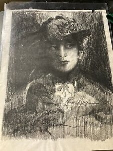 Vintage Graphite Victorian Good Witch Woman Drawing