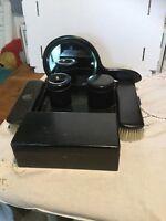 Vintage Ebony dressing table mirror And Ebonized Tray Box And Set Free Uk P&P