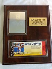 Dave Justice Limited Edition Silver Star Hologram Card and Ticket Wood Plaque